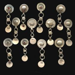 Turkoman, Kuchi or gypsy buttons with dangles for tribal dance costuming.  Mixed metals with shank on the back for sewin