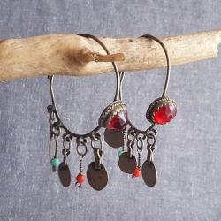 Moroccan Berber Hoop Tribal Earrings - Tribal Belly Dance - Glass Jewels, Beads