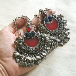 Matched Pair of Large Matakai Kuchi Pendants for Tribal Belly Dance DIY Costuming