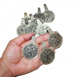 Round Berber Niello Etched Moroccan Pendants for Tribal Belly Dance Costuming DIY