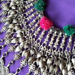 Large Traditional Vintage Kuchi Afghani Nomad Dangles Necklace Tribal Belly Dance