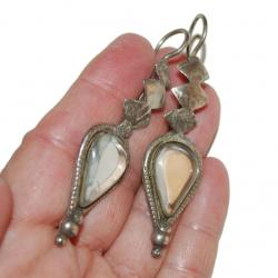 Vintage Glass Jem Mirror Tribal Earrings - Belly Dance Traditional Tribal Silver Jewelry