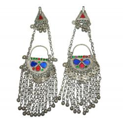 Vintage Waziri Earrings with Hair Chains and Bell Dangles - Tribal Belly Dance Jewelry