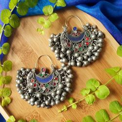 Vintage Kuchi Earrings with Glass Jewels and Bell Dangles - Tribal Belly Dance Jewelry