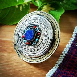 New Langhmani Style Tribal Ring with Stone Inset for Tribal Belly Dance Costuming