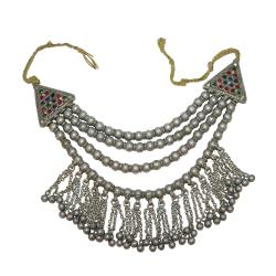 Ornate Beaded Tribal Kashmir Necklace with Jingling Bells for Tribal Belly Dance CostumingOrnate Beaded Tribal Kashmir N