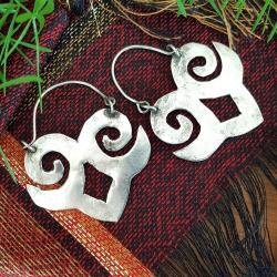 Miao Tribal Earrings for Belly Dance Costuming - Chinese Minorities Silver