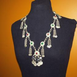 Kuchi Jewel Coin Links Necklace for Tribal Belly Dance Costuming Jewelry