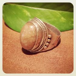 Vintage Asian Indian Silver Ring with Natural Stone for Tribal Belly Dance Costuming