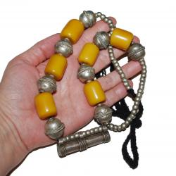 Ethiopian Metal Bead and Copal Amulet Tube Necklace for Tribal Belly Dance Costuming