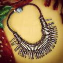 Vintage Tharu Kanthshri Necklace - Tribal Belly Dance Jewelry - Spiky Original Tribal Necklace