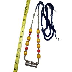 Ethiopian Metal, Glass and Copal Bead Amulet Tube Necklace for Tribal Belly Dance Costuming