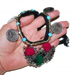 Kuchi Necklace - Tribal Pendant and Coins - Belly Dance Tribal Necklace - Kuchi Tribal Jewelry - Crescent Pendant