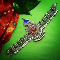 Kuchi Headpiece - Tribal Belly Dance Jewelry - Tribal Headpiece with Glass Jewels