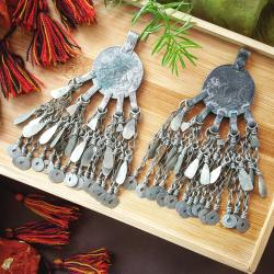 Pair of vintage Tribal Kuchi Coin Pendants - Tribal Belly Dance DIY Costuming - Kuchi Waziri Hazara
