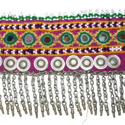 Kuchi Afghani Tribal Belt with Beadwork Mirrors Buttons and Chain Fringe - Tribal Belly Dance Costuming Belt