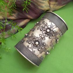 Vintage Maio Floral Cuff - XL Tribal Chinese Cuff Bracelet with Granulation and Wirework - Tribal Belly Dance Jewelry Cu