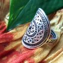 Miao Chinese Silver Filigree Ring - New Size 8 - Tribal Belly Dance Jewelry for Costuming - Chinese Minorities Miao Hmon
