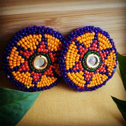 Pair of Vintage Kuchi Beaded Tribal Medallions Gul - 2.25 Inches - Belly Dance Costuming DIY Rounds Rosettes Disks