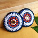 Pair of Vintage Kuchi Beaded Tribal Medallions Gul - 2.5 Inches - Belly Dance Costuming DIY Rounds Rosettes Disks