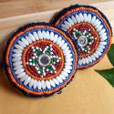 Pair of Vintage Kuchi Beaded Tribal Medallions Gul - 3.25 Inches - Belly Dance Costuming DIY Rounds Rosettes Disks