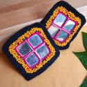 Pair of Square Diamond Vintage Kuchi Beaded Tribal Medallions Gul - Belly Dance Costuming DIY Rounds Rosettes Disks