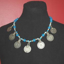 Aqua Blue Tribal Coin Necklace - Tribal Belly Dance Necklace - Trade Beads Vintage Moroccan Coin Pendants