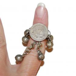 Banjara Indian Vintage Coin Ring - Adjustable Tribal Coin Jingle Ring - Tribal Belly Dance Jewelry - Banjara Lambani Rab