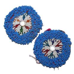 Kuchi Beaded Tribal Medallions Gul - 3 Inches - Vintage Pair - Belly Dance Costuming DIY Rounds Rosettes Disks