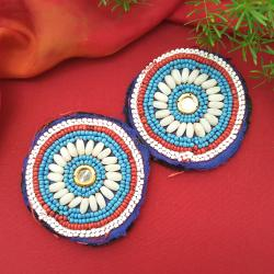 Kuchi Beaded Tribal Medallions Gul - 3.25 Inches - Vintage Pair - Belly Dance Costuming DIY Rounds Rosettes Disks