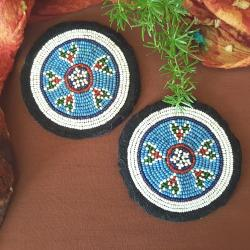 Kuchi Beaded Tribal Medallions Gul - 4 Inches - Vintage Pair - Belly Dance Costuming DIY Rounds Rosettes Disks