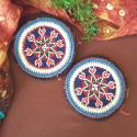 Kuchi Beaded Tribal Medallions Gul - 4.75 Inches - Vintage Pair - Belly Dance Costuming DIY Rounds Rosettes Disks