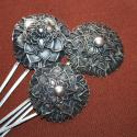 Maio Silver Alloy Hair Pin - Tribal Belly Dance Hair Pin - Miao Chinese Chrysanthemum Design Tribal Hair Stick