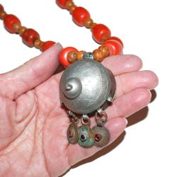 Moroccan Bead Necklace with Vintage Pendant - Tribal Belly Dance Necklace with Berber Pendant - Vintage Berber Headpiece
