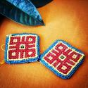 Kuchi Beaded Tribal Medallions Gul - 2.5 Inches - Vintage Pair - Belly Dance Costuming DIY Rounds Rosettes Disks