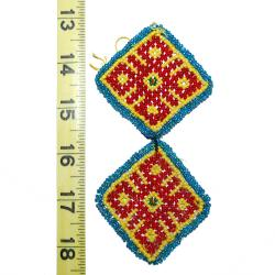 Kuchi Beaded Tribal Medallions Gul - 2.5 Inches - Vintage Pair - Belly Dance Costuming DIY Rounds Rosettes DisksKuchi Be