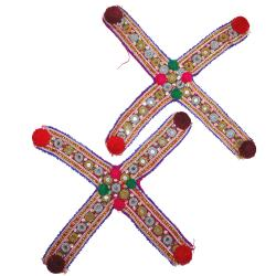 Kuchi Tribal X Shaped Beadwork Patches - Beaded Pair - Belly Dance Costuming DIY Beads, Mirrors, Sequins