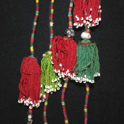 Vintage Turkoman Silk Tassels - Pair Tribal Belly Dance Costume Tassels - Turkman Hair Tassels DIY