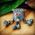Vintage Kuchi Tribal Ring - Size 8  - Tribal Jewelry for Belly Dance - Jewel and Bells