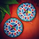 Kuchi Beaded Tribal Medallions Gul - 3.5 Inches - Vintage Pair - Belly Dance Costuming DIY Rounds Rosettes Disks