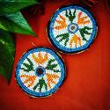 Pair of Vintage Kuchi Beaded Tribal Medallions Gul - 3.25 Inches - Belly Dance Costuming DIY Rounds Rosettes Disk