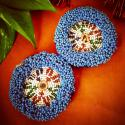 Pair of Vintage Kuchi Beaded Tribal Medallions Gul - 3.5 Inches - Belly Dance Costuming DIY Rounds Rosettes Disk