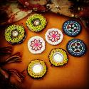 Kuchi Vintage Tribal Medallions Gul - Eight Small Medallions - Four Pair - Vintage Belly Dance Costuming DIY Rounds Rose