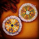 Kuchi Beaded Tribal Medallions Gul - 3.75 Inches - Vintage Pair - Belly Dance Costuming DIY Rounds Rosettes Disks