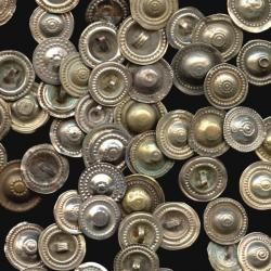 Turkoman, Kuchi or gypsy buttons for tribal dance costuming.  Mixed metals with shank on the back for sewing or stringin